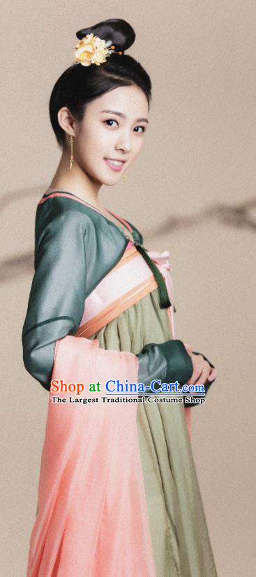Chinese Ancient Palace Lady Historical Costumes and Hairpin Drama Tang Dynasty Tour Ling Long Hanfu Dress