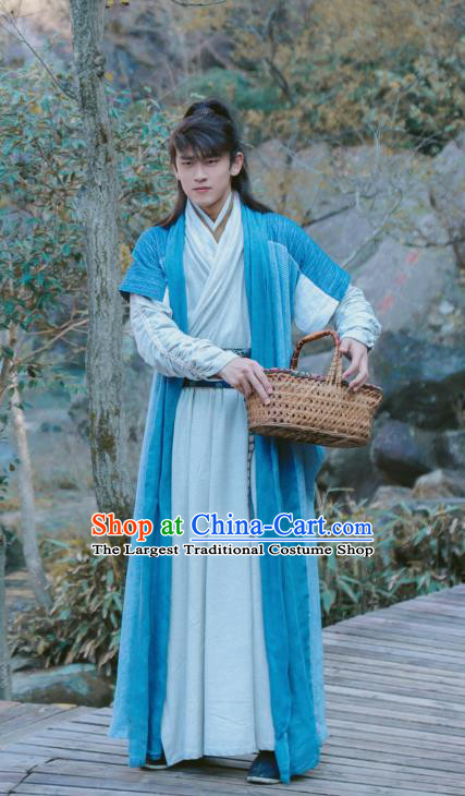Chinese Ancient Swordsman Blue Clothing Drama Tang Dynasty Tour Yun Ye Costumes