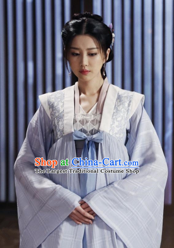 Chinese Ancient Gifted Female Historical Costumes and Hairpins Drama Tang Dynasty Tour Lu Xinyue Lilac Hanfu Dress
