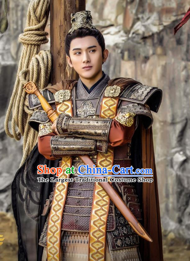 Chinese Ancient General Armor Clothing and Headwear Drama Tang Dynasty Tour Prince Li Chengqian Costumes