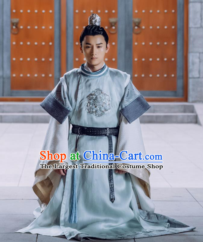Chinese Ancient Crown Prince Clothing and Headwear Drama Tang Dynasty Tour Prince Li Chengqian Blue Costumes