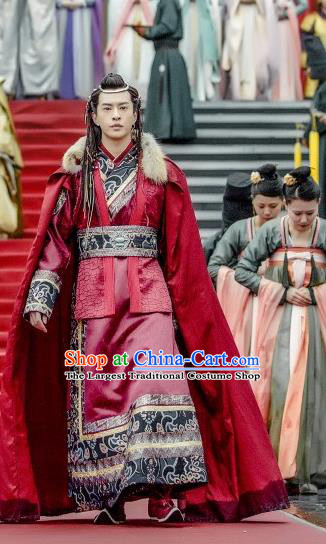 Chinese Ancient Ethnic Prince Clothing and Headwear Drama Tang Dynasty Tour A Shina Red Costumes