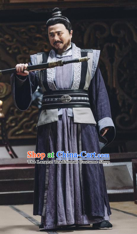 Chinese Ancient Swordsman Clothing and Headwear Drama Tang Dynasty Tour General Cheng Yaojin Costumes