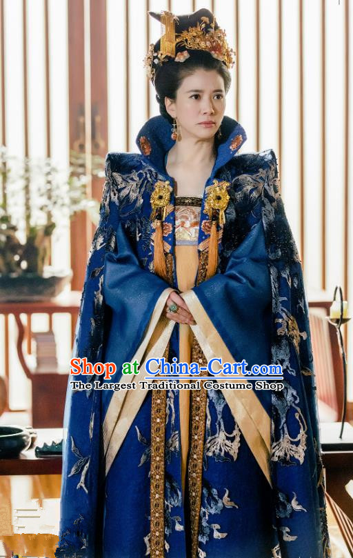 Chinese Ancient Court Queen Historical Costumes and Headwear Drama Tang Dynasty Tour Empress Zhangsun Blue Hanfu Dress
