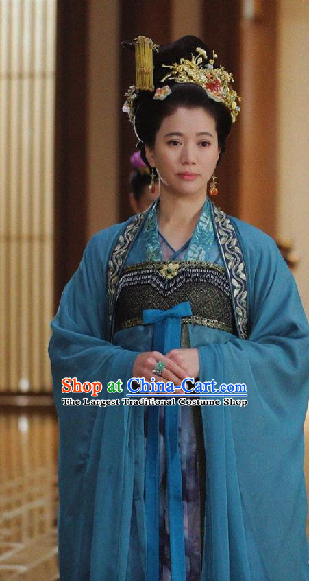 Chinese Ancient Court Empress Historical Costumes and Headwear Drama Tang Dynasty Tour Queen Zhangsun Blue Hanfu Dress