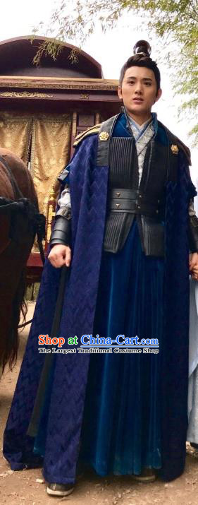 Chinese Ancient Crown Prince Li Chengqian Clothing and Headwear Drama Tang Dynasty Tour Swordsman Navy Costumes