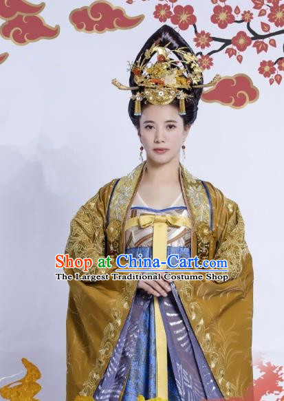 Chinese Ancient Royal Queen Historical Costumes and Headpieces Drama Tang Dynasty Tour Empress Zhangsun Dresses