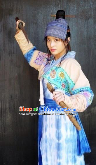 Chinese Ancient Tang Dynasty Female Swordsman Historical Costumes and Headwear Drama Legend of Southwest Dance and Music Su Qianwei Dresses