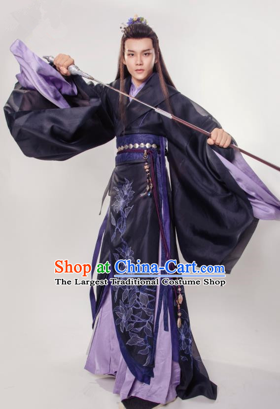 Chinese Ancient Swordsman Black Clothing and Hairdo Crown Drama the Birth of the Dream King Ji Chuan Costumes