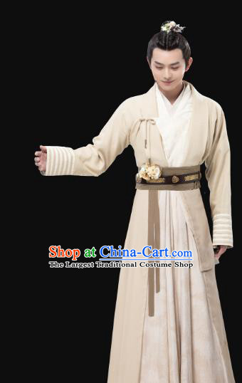 Chinese Ancient Swordsman White Clothing and Headpieces Drama the Birth of the Dream King Zhao Qingfeng Costumes