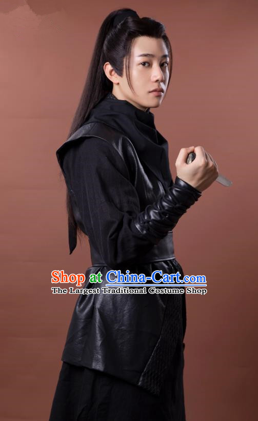 Chinese Ancient Young Swordsman Black Clothing and Headpieces Drama the Birth of the Dream King Gu Yifeng Costumes