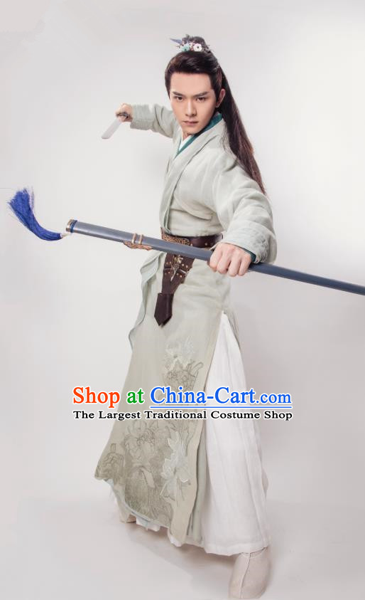 Chinese Ancient Young Knight Clothing and Headpieces Drama the Birth of the Dream King Zhao Qingfeng Grey Costumes