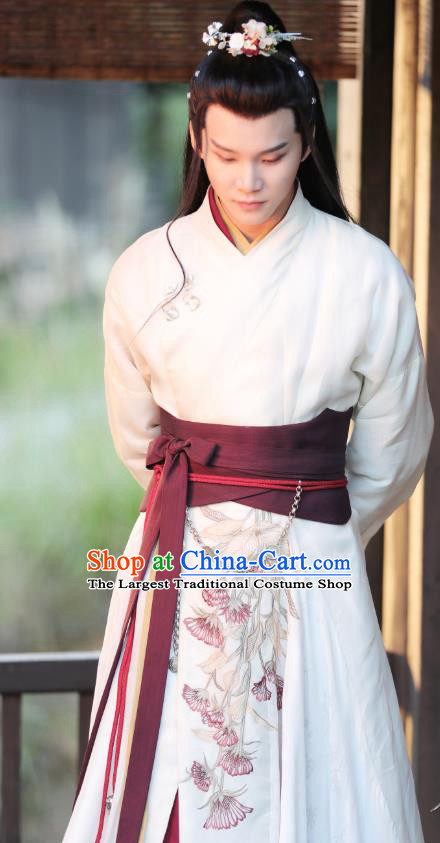 Chinese Ancient Young Knight White Clothing and Headpieces Drama the Birth of the Dream King Swordsman Ji Chuan Costumes