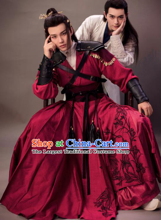 Chinese Ancient Knight Red Clothing and Hairpin Drama the Birth of the Dream King Swordsman Ji Chuan Costumes