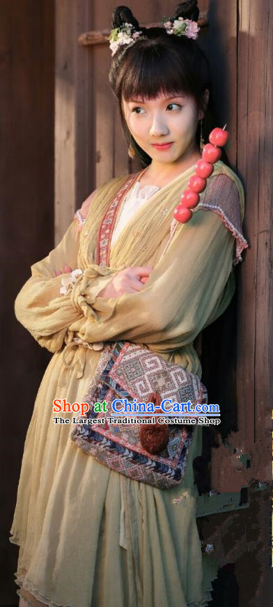 Chinese Ancient Maidservant Historical Costumes and Hairpins Drama the Birth of the Dream King A Fu Yellow Dresses