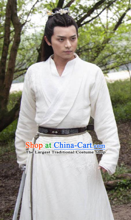 Chinese Ancient Kawaler White Clothing and Hairdo Crown Drama the Birth of the Dream King Swordsman Zhao Qingfeng Hanfu Costumes