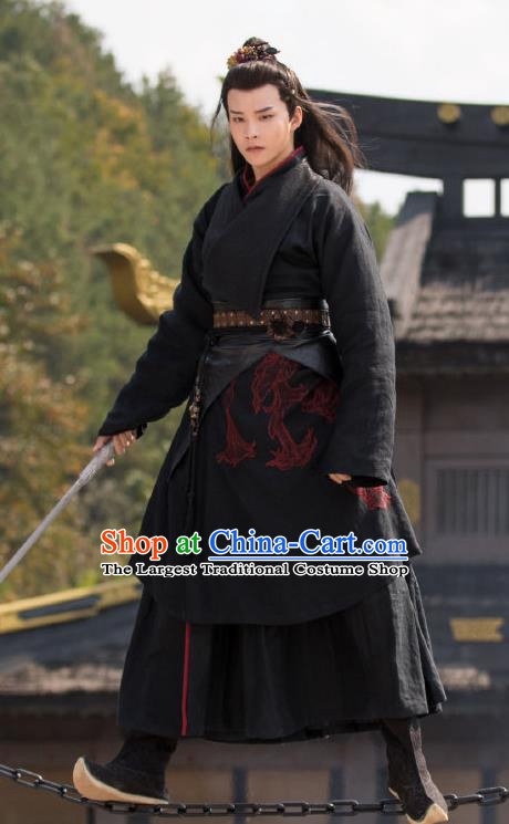 Chinese Ancient Kawaler Black Clothing and Hairdo Crown Drama the Birth of the Dream King Swordsman Ji Chuan Hanfu Costumes