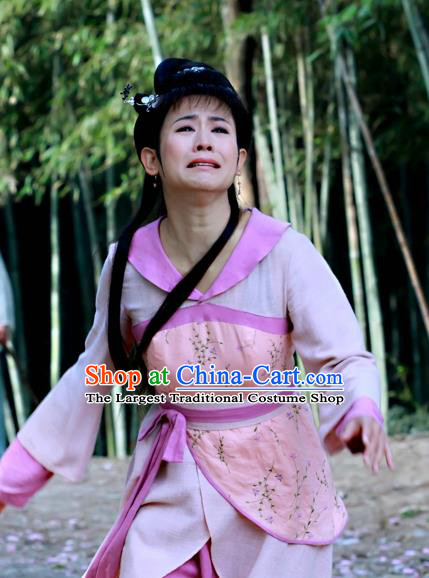 Chinese Ancient Civilian Costume Historical Drama Love Amongst War Wang Baochuan Dress and Headpiece Complete Set