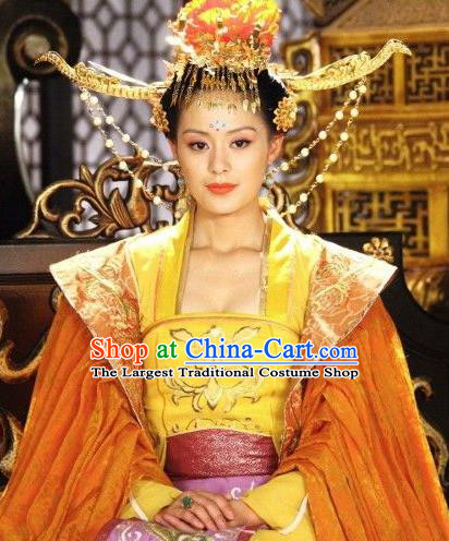 Chinese Ancient Tang Dynasty Imperial Consort Historical Costumes and Headdress Drama Legend of Southwest Dance and Music Concubine Wei Dresses