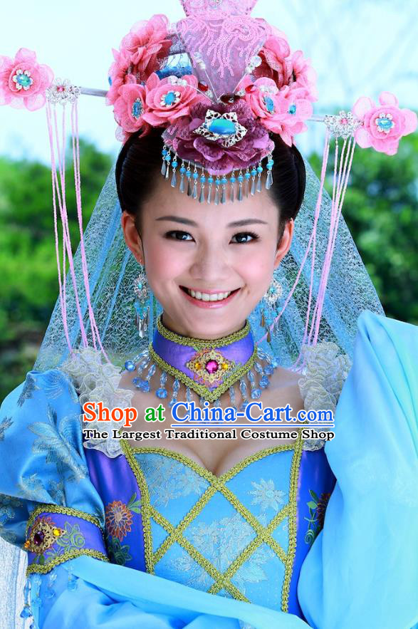 Chinese Ancient Costumes Historical Drama Love Amongst War Princess Dai Zhan Blue Dress and Headpiece Complete Set