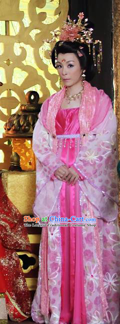 Chinese Ancient Costumes Historical Drama Love Amongst War Imperial Consort Pink Dress and Headdress Complete Set