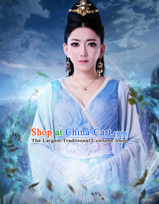 Chinese Ancient Princess Costumes Historical Drama Cover the Sky Sang Ruo Blue Dress and Hairpins