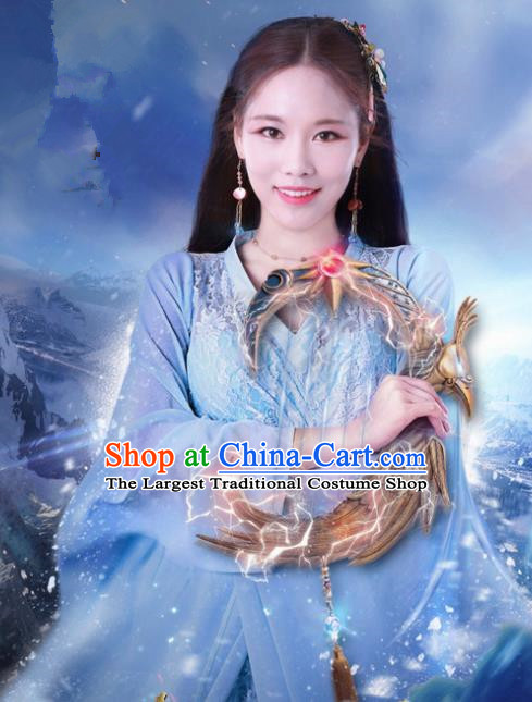 Chinese Ancient Costumes Historical Drama Cover the Sky Princess Qin Di Blue Dress and Hairpins