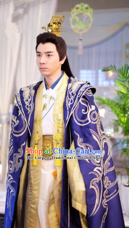Chinese Ancient Lord Clothing and Golden Hair Crown Drama Cover the Sky Prince Su Gu Costumes