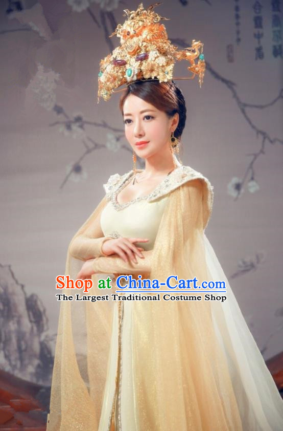 Chinese Ancient Queen Historical Costumes Drama Cover the Sky Empress Dress and Phoenix Coronet