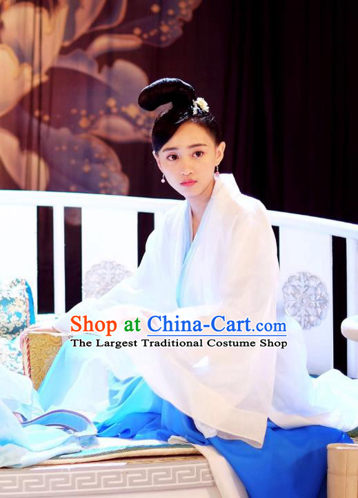 Chinese Ancient Princess Historical Costumes Drama Cover the Sky Su Jin Hanfu Dress and Hairpin