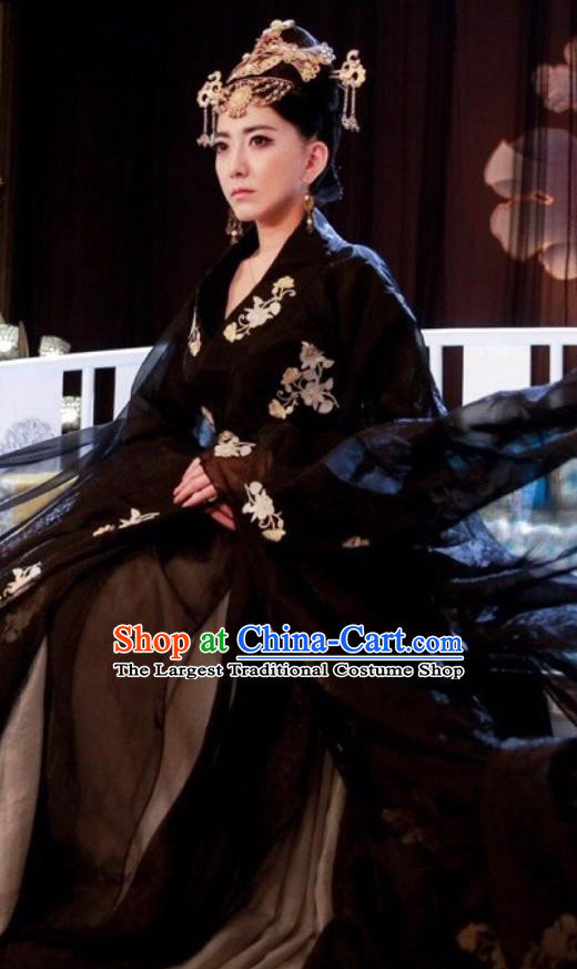 Chinese Ancient Empress Historical Costumes Drama Cover the Sky Queen Sang Ruo Black Hanfu Dress and Hair Jewelries