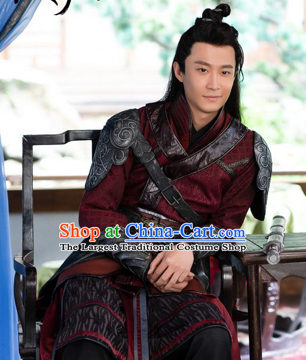 Chinese Ancient Swordsman Red Clothing Drama The Romance of Hua Rong Bodyguard Armor Costumes