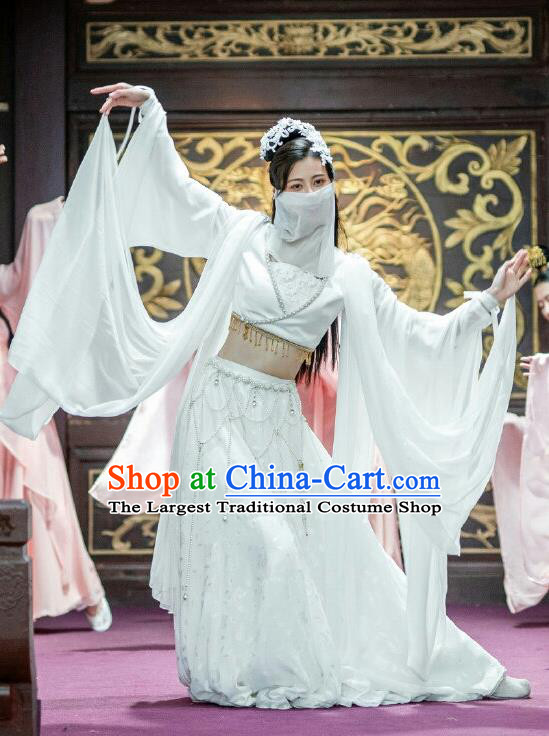 Chinese Ancient Dance Girl Historical Costumes Drama The Romance of Hua Rong White Hanfu Dress and Hair Jewelries