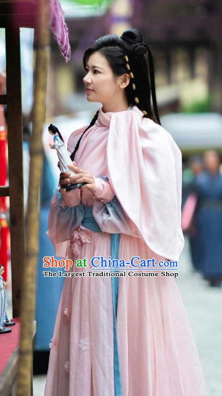 Chinese Ancient Pink Historical Costumes Drama The Romance of Hua Rong Female Swordsman Su Qingqing Hanfu Dress and Headwear