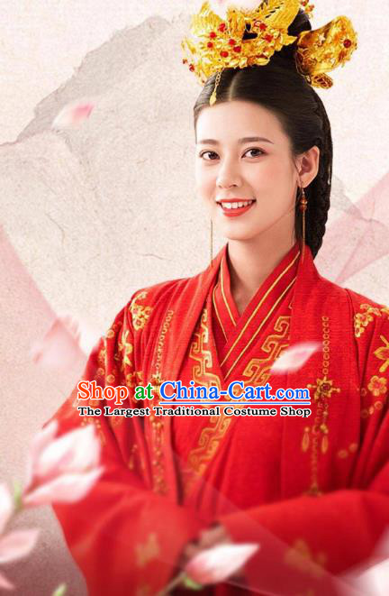 Chinese Ancient Wedding Historical Costumes Drama The Romance of Hua Rong Bride Red Hanfu Dress and Headwear