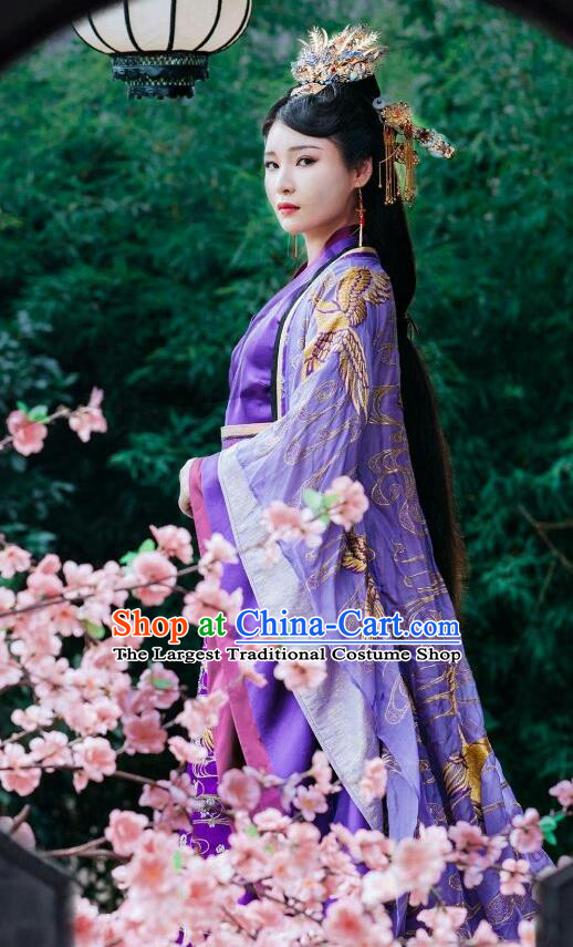 Chinese Ancient Royal Queen Historical Costumes Drama Princess at Large Gudu Fei Hanfu Dress and Hair Jewelries