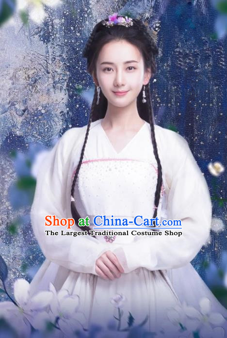 Chinese Ancient Female Historical Costumes Drama Princess at Large Yan Ruoxi Hanfu Dress and Hair Jewelries