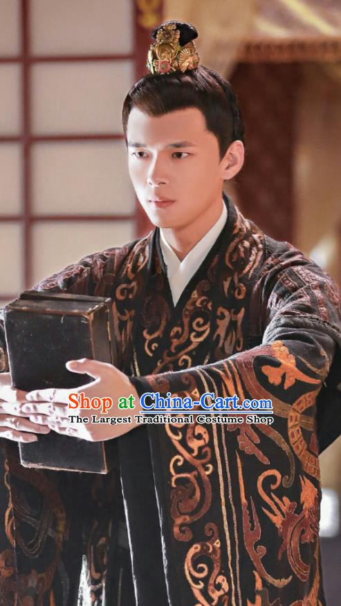 Chinese Ancient Crown Prince Clothing and Headwear Drama Princess at Large Qi Lingxiao Black Costumes for Men