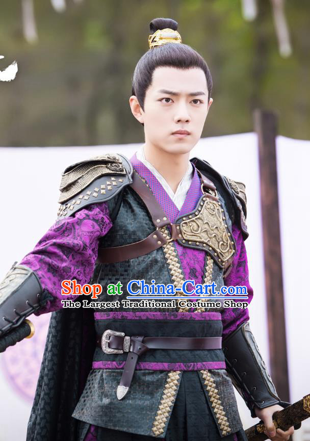 Chinese Ancient General Clothing and Headwear Drama Oh My Emperor Swordsman Beitang Moran Xiao Zhan Costumes for Men