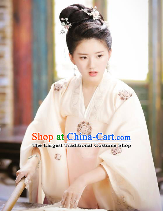 Chinese Ancient Female Historical Costumes Drama Oh My Emperor Noble Lady Luo Feifei Hanfu Dress and Hair Accessories