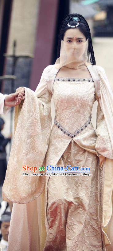 Chinese Ancient Princess Historical Costumes Drama Princess at Large Yan Qingcheng Hanfu Dress and Headdress
