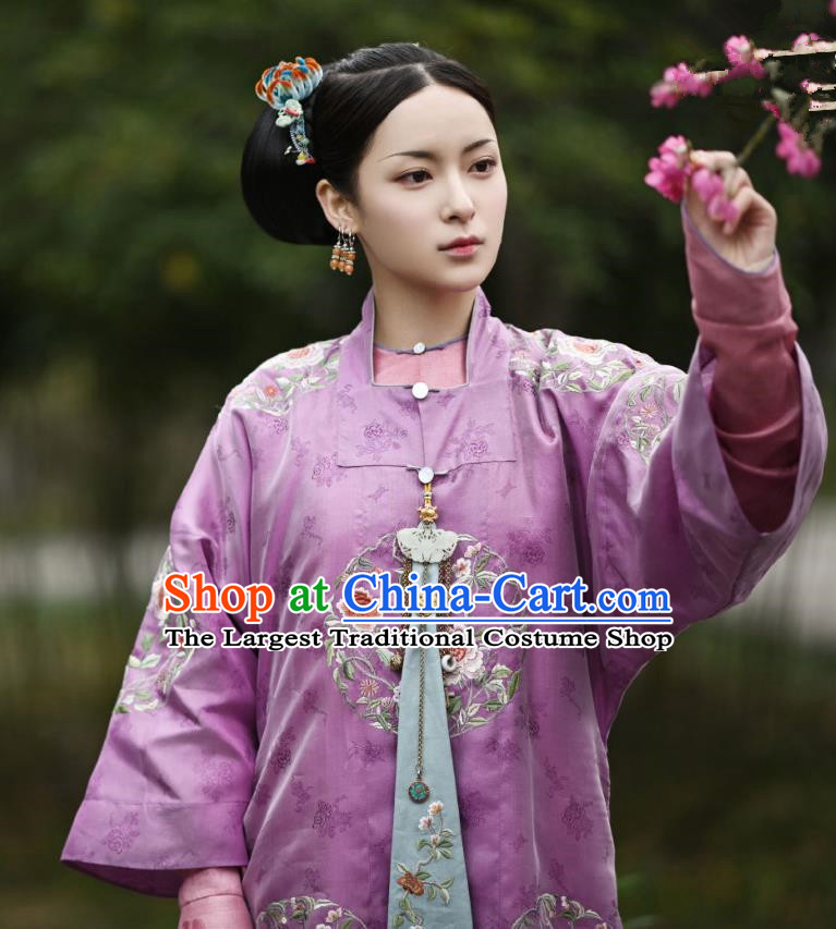 Chinese Ancient Garment Manchu Court Lady Lilac Qipao Dress and Hairpins Drama Dreaming Back to the Qing Dynasty Princess Consort Ming Hui Garment