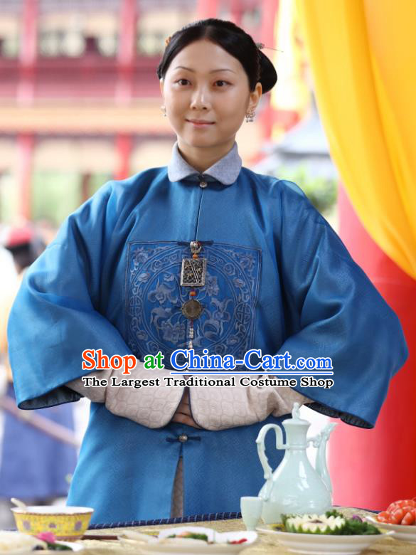 Chinese Ancient Garment Manchu Palace Lady Blue Qipao Dress and Hair Jewelries Drama Dreaming Back to the Qing Dynasty Court Maid Blue Garment