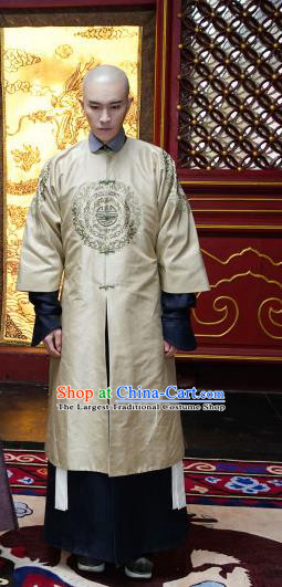 Chinese Ancient Manchu Crown Prince Aisin Gioro Yinreng Garment Costumes Drama Dreaming Back to the Qing Dynasty Golden Gown Apparels