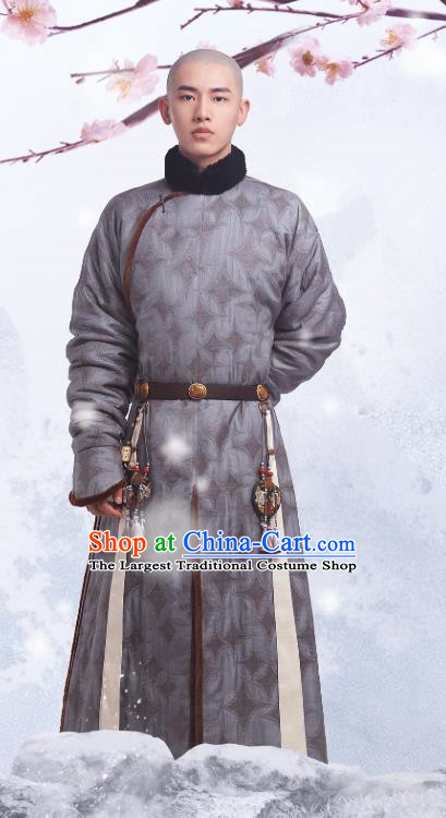 Chinese Ancient Fourteen Prince Aisin Gioro Yinti Garment Manchu Costumes Drama Dreaming Back to the Qing Dynasty Grey Gown Apparels