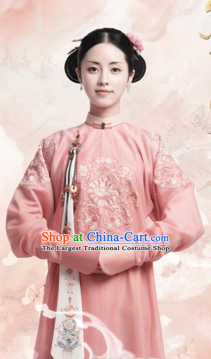Chinese Ancient Garment Manchu Lady Apparels Pink Qipao Dress and Hair Jewelries Drama Dreaming Back to the Qing Dynasty Imperial Consort Zheng Costumes
