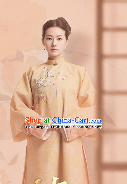 Chinese Ancient Garment Manchu Maid Apparels Orange Qipao Dress and Hair Jewelries Drama Dreaming Back to the Qing Dynasty Qi Xiang Costumes
