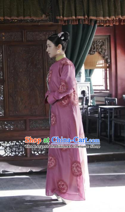 Chinese Ancient Garment Manchu Dame Apparels Purple Qipao Dress and Hair Accessories Drama Dreaming Back to the Qing Dynasty Rani Ming Wei Costumes