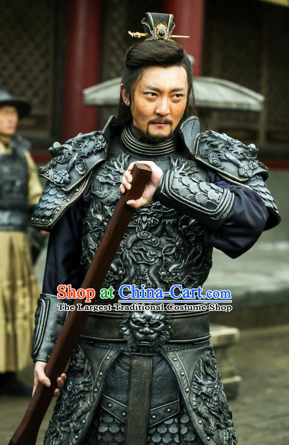 Chinese Ancient Ming Dynasty General Armor Apparels Garment Drama The Great Shaolin Gao Jianxiong Clothing and Headwear