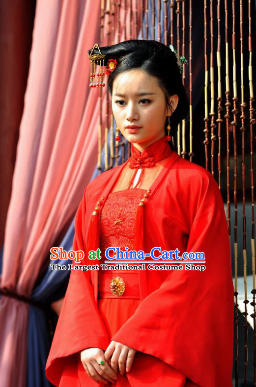 Chinese Ancient Ming Dynasty Courtesan Red Garment and Headpieces Drama The Great Shaolin Li Zhenzhen Costumes